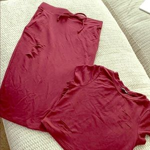 Fashion Nova distressed skirt and top set